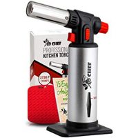 Jo Chef Kitchen Torch, Blow Torch - Refillable Butane Torch With Safety Lock & Adjustable Flame + Fuel gauge - Culinary Torch, Creme Brûlée Torch For Cooking Food, Baking, BBQ & More + FREE E-book