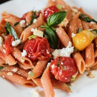 Barilla Red Lentil Pasta with Spicy Tomatoes and Garlic Infused Olive Oil