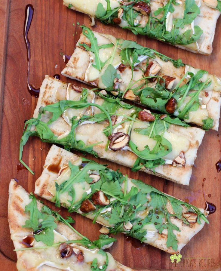 Grilled Flatbread with Brie, Arugula, Candied Nuts, and Balsamic-Honey Drizzle · Erica's Recipes