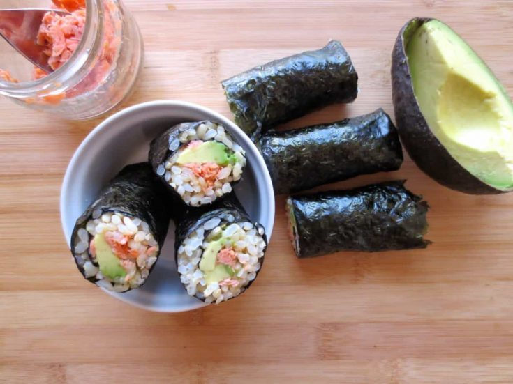 Salmon-Avocado Seaweed Rolls (Onigiri Rolls)