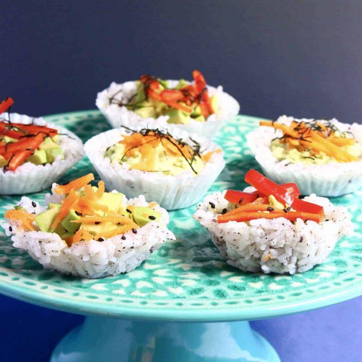 Muffin Tin Sushi Cups (Vegan + GF)
