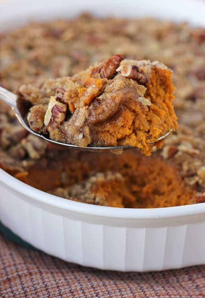 Sweet Potato Casserole with Pecan Topping {Gluten-Free}