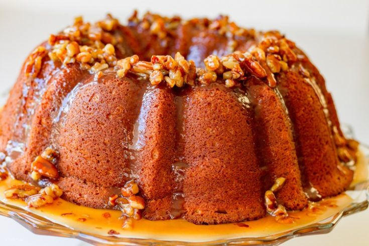 Ty's Sweet Potato Sour Cream Pound Cake with Maple Pecan Praline Sauce