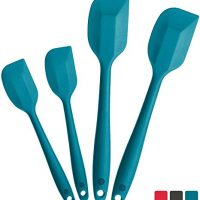 StarPack Basics Silicone Spatula Set (2 Small, 2 Large), High Heat Resistant to 480°F, Hygienic One Piece Design, Non Stick Rubber Cooking Utensil Set (Teal Blue)