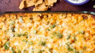 7 Layer Dip with Shredded Taco Chicken (Baked Dip)