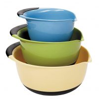 OXO 1169600 Good Grips 3-piece Mixing Set, White Bowls Brown Handles, Blue/Green/Yellow