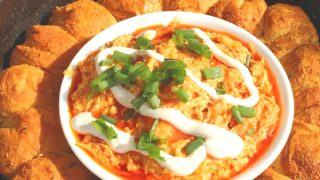 Biscuit Wreath With Buffalo Chicken Dip