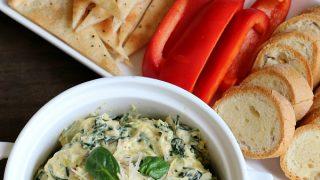 Easy Spinach Artichoke Dip {Gluten-free}