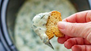 Slow Cooker Spinach Artichoke Dip Recipe (No Mayo)