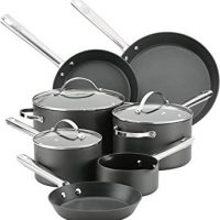 Anolon 83919 Professional Dishwasher Safe Hard Anodized Nonstick Cookware Pots and Pans Set, 10 Piece, Gray