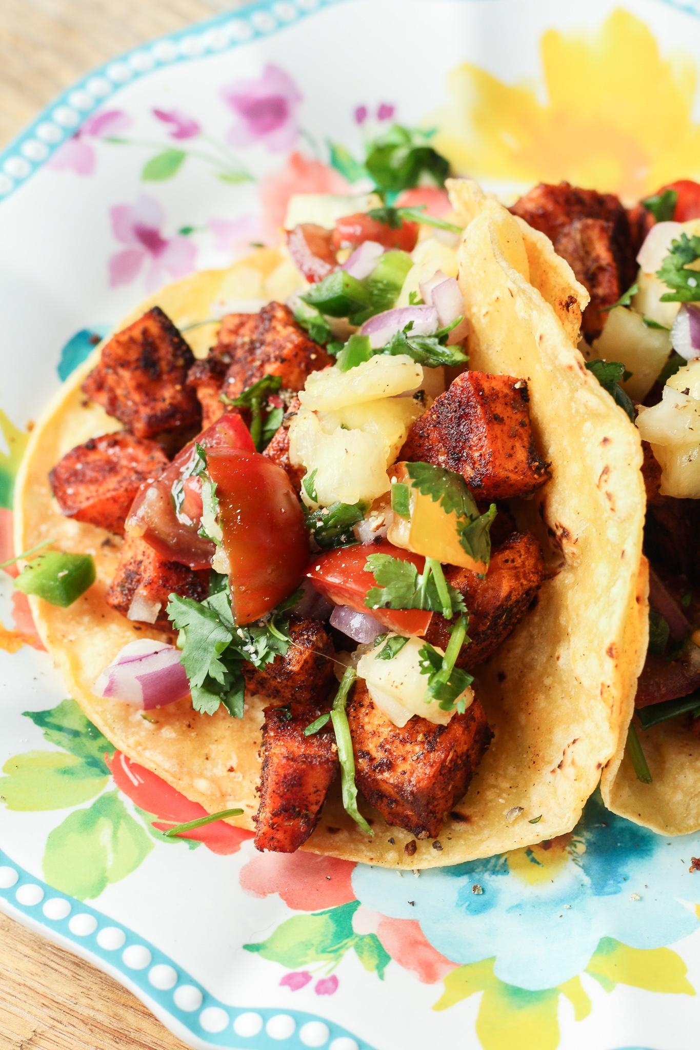 Sweet Potato Tacos with Pineapple Pico de Gallo
