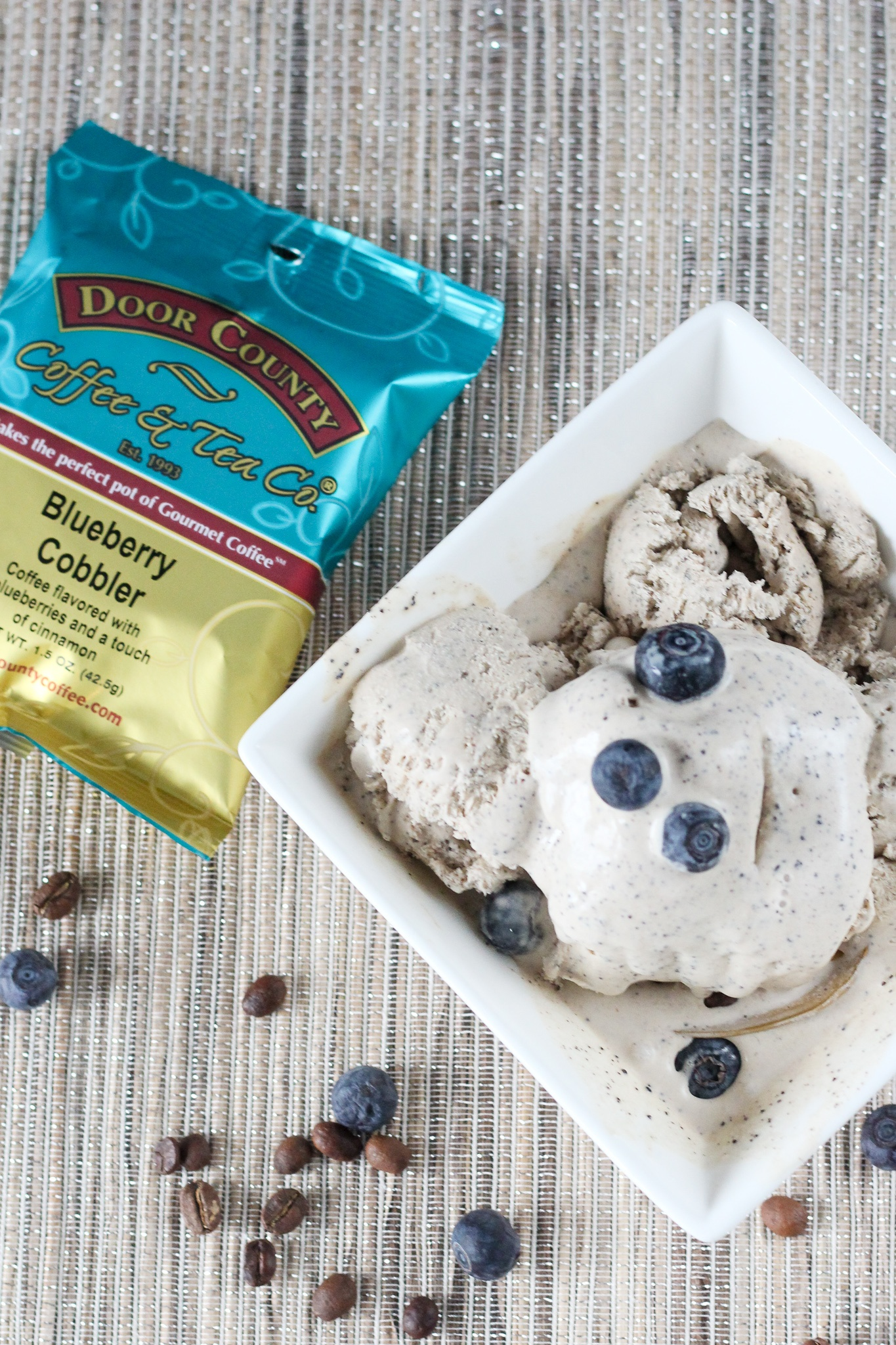 door County Coffee  Blueberry Flavored No-Churn Coffee Ice Cream