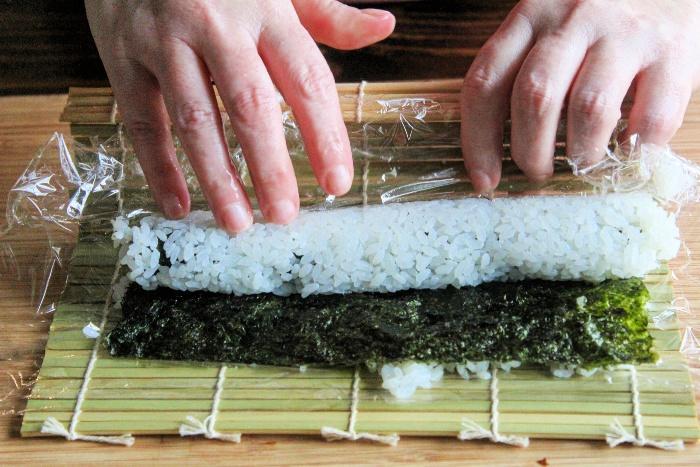 Making sushi at home -- sushi roller