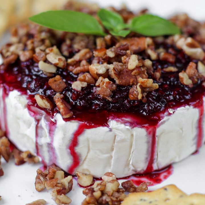 Blackberry Basil Balsamic Brie with Sweetened Pecans