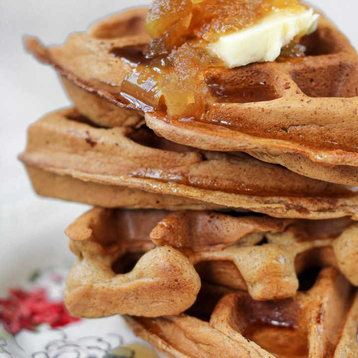 Apple Cider Waffles with Caramel Apple Syrup