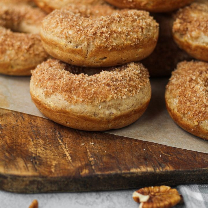 Pecan Cinnamon Sugar Baked Apple Donuts